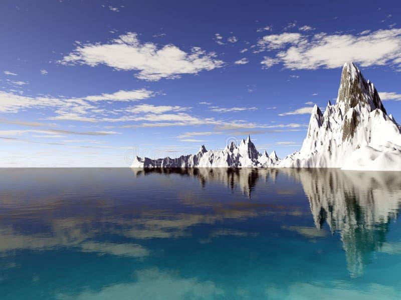 Ghiacciai dell'Alaska con la riflessione dell'acqua fotografia stock libera da diritti