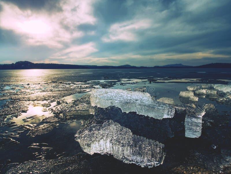 Ghiacciai di scomparsa dell'attrazione turistica Mutamento climatico visibile Banchise galleggianti ghiacciate che mealtiing fotografia stock