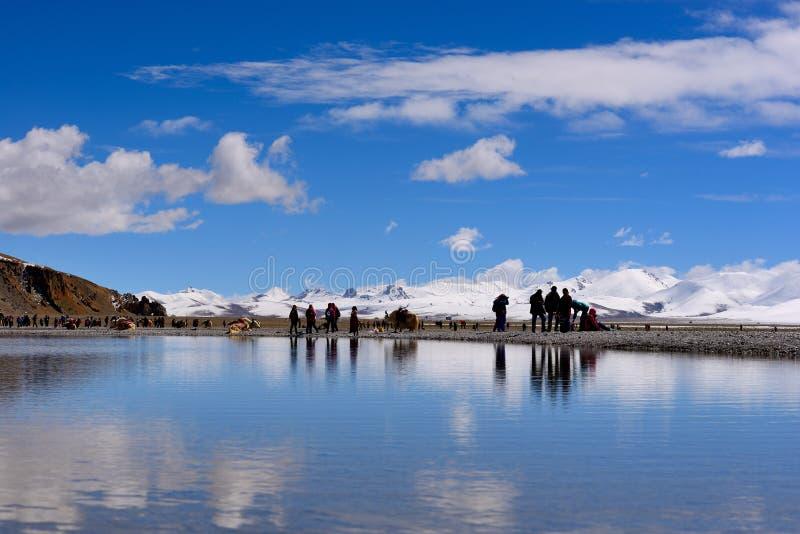 Ghiacciai vergini del lago dello XIZANG con la riflessione dell'acqua fotografie stock