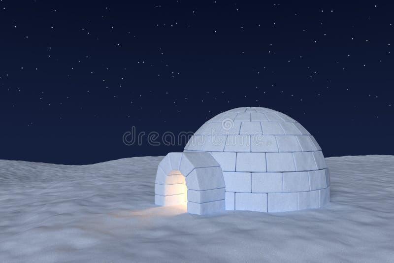 Ghiacciaia dell'iglù con luce calda dentro sotto cielo notturno con le stelle illustrazione vettoriale