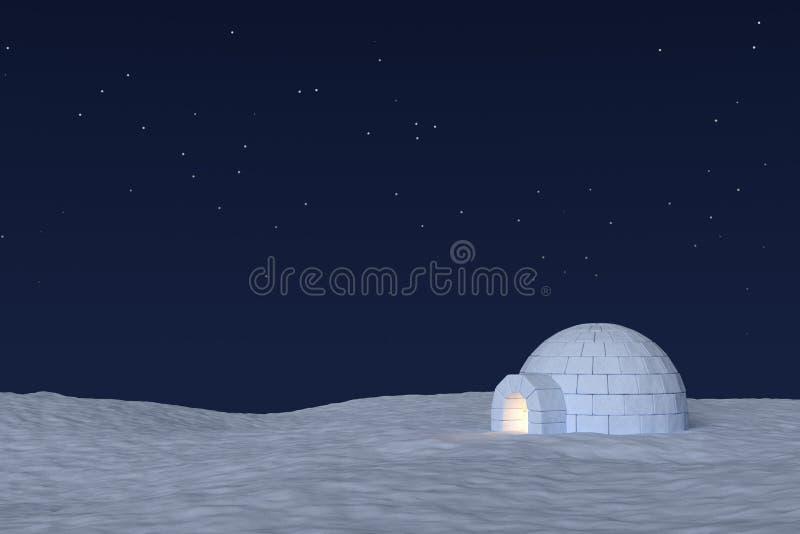 Ghiacciaia dell'iglù con luce calda dentro sotto il cielo con le stelle illustrazione di stock
