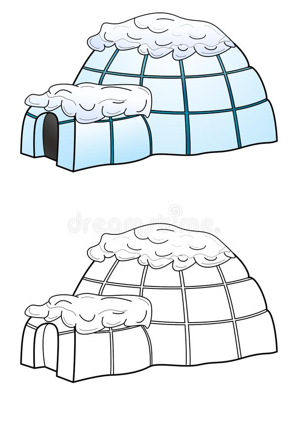 Ghiacciaia dell'iglù isolata su fondo bianco royalty illustrazione gratis