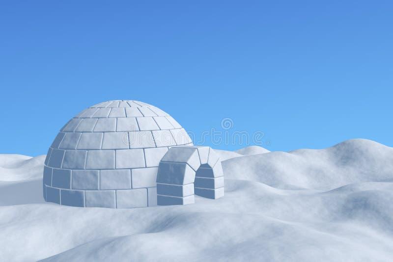 Ghiacciaia dell'iglù nell'ambito della vista del primo piano del cielo blu royalty illustrazione gratis
