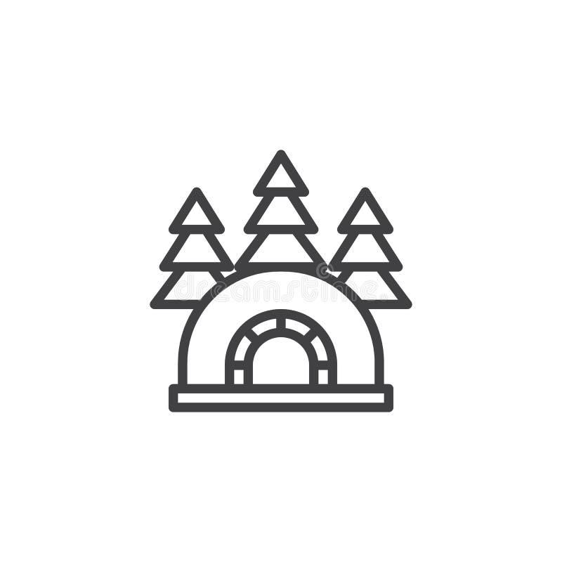 Ghiacciaia dell'iglù nell'icona del profilo della foresta royalty illustrazione gratis