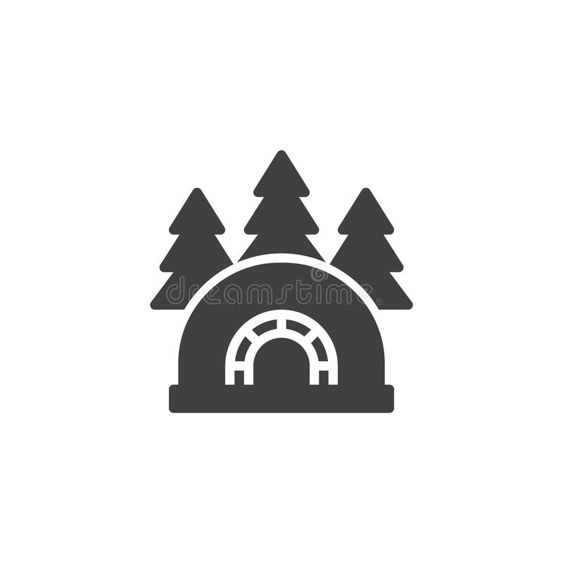 Ghiacciaia dell'iglù nell'icona di vettore della foresta illustrazione di stock