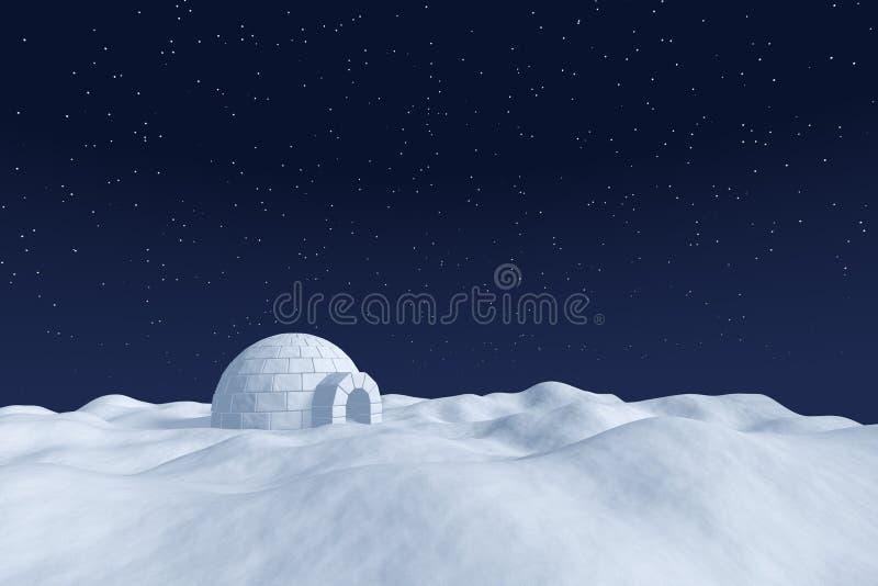 Ghiacciaia dell'iglù sul campo polare della neve sotto cielo notturno con le stelle illustrazione vettoriale