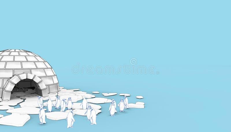 Ghiacciaia eschimese Snowhouse dell'iglù e pinguini su fondo blu royalty illustrazione gratis