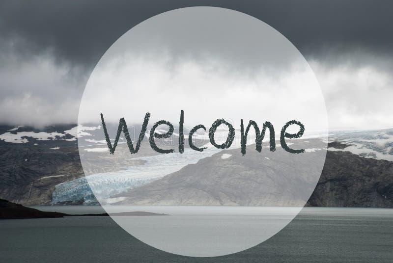 Ghiacciaio, lago, benvenuto del testo, bello paesaggio in Norvegia illustrazione vettoriale