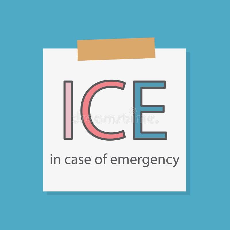 GHIACCIO in caso d'emergenza scritto in una carta del taccuino illustrazione di stock