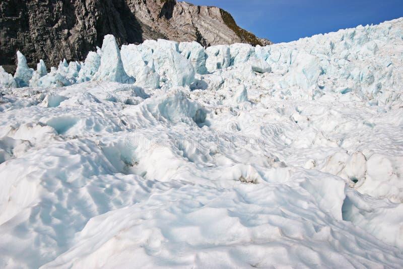 Ghiaccio ondulato del ghiacciaio davanti ai bei pezzi stracciati del ghiaccio sulla montagna immagini stock libere da diritti