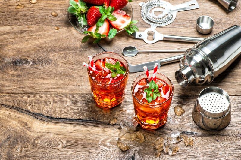 Ghiaccio rosso della bevanda Il cocktail che fa la barra foggia l'agitatore fotografia stock libera da diritti