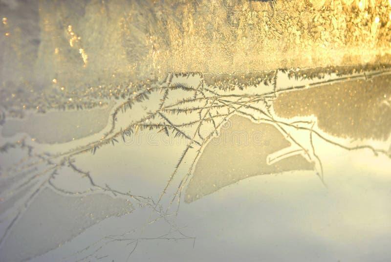 Ghiaccio sul vetro di finestra, luce dorata, primo piano di struttura dello sfondo naturale fotografie stock