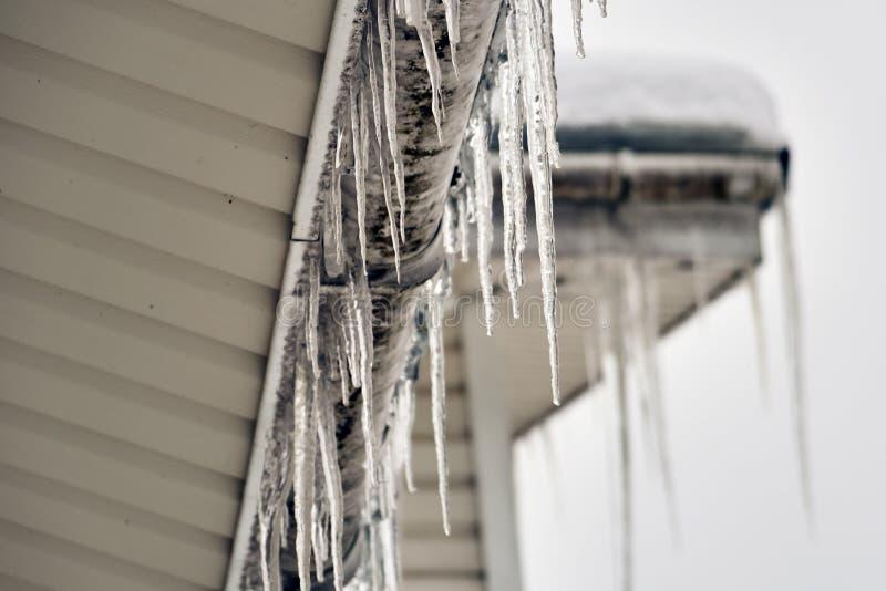 Ghiaccioli che appendono sul tetto di un cottage in inverno o primavera Tetto della Camera coperto di grandi ghiaccioli fotografia stock libera da diritti