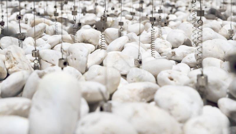 Ghiaia ed imbracature bianche con le molle per paesaggio interno immagini stock libere da diritti