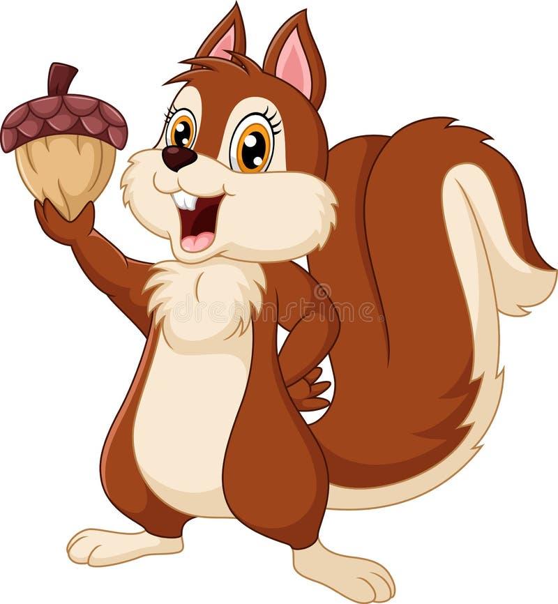 Ghianda sveglia della tenuta del fumetto dello scoiattolo illustrazione vettoriale