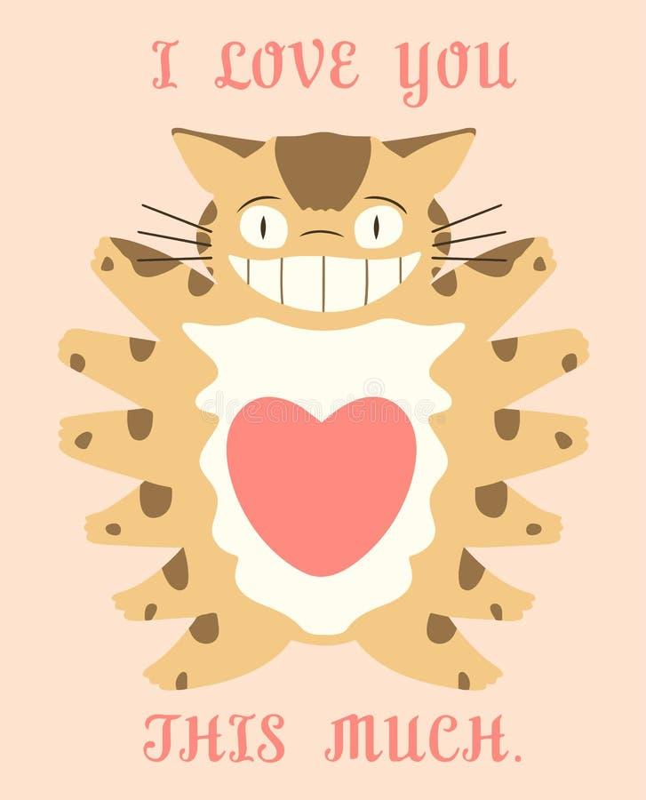 Ghibli del gatto di Totoro ti amo questo molto immagini stock libere da diritti