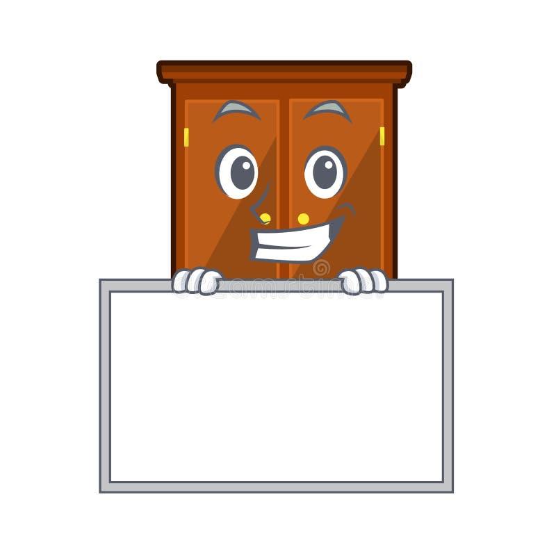 Ghignando con il guardaroba del bordo nella camera da letto della mascotte di a royalty illustrazione gratis