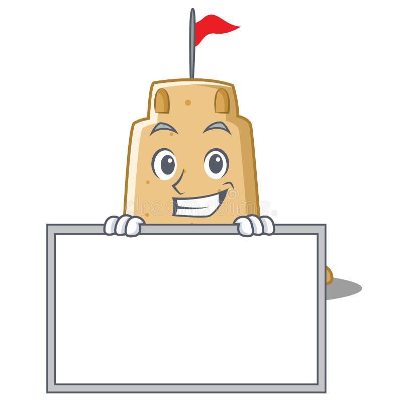 Ghignando con lo stile del fumetto del carattere del castello di sabbia del bordo illustrazione di stock