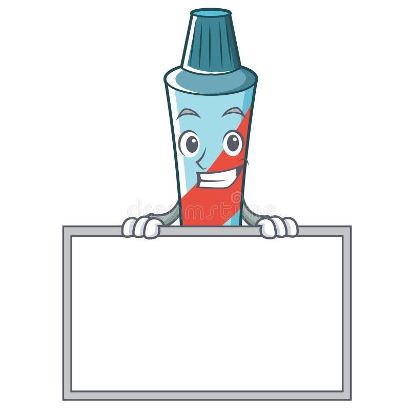 Ghignando con lo stile del fumetto del carattere del dentifricio in pasta del bordo illustrazione vettoriale
