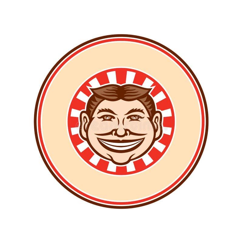 Ghignando il cerchio divertente della mascotte del fronte retro illustrazione di stock