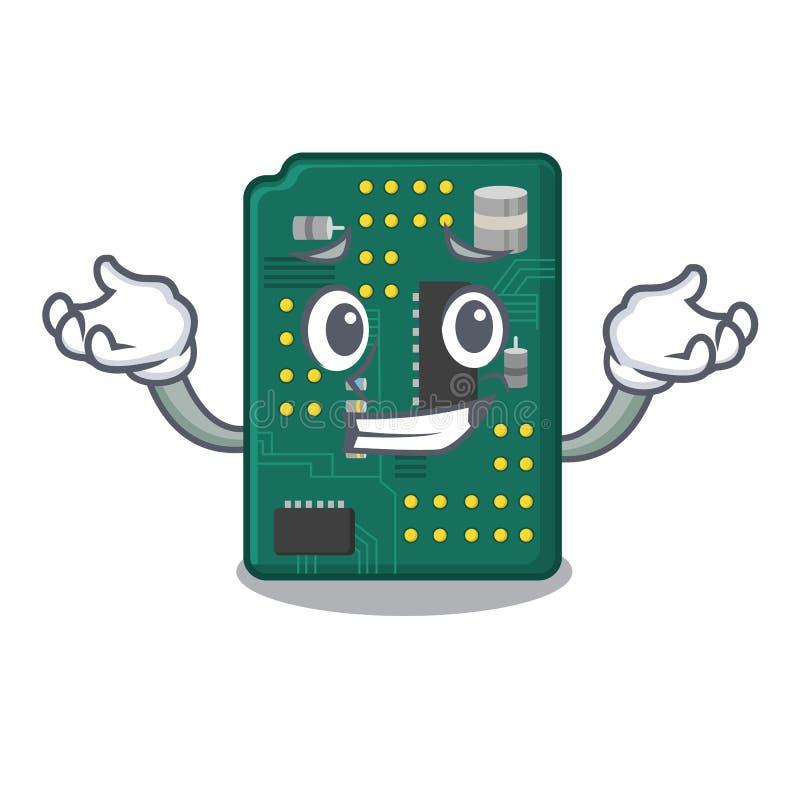 Ghignare il PWB del circuito nella forma del fumetto illustrazione vettoriale