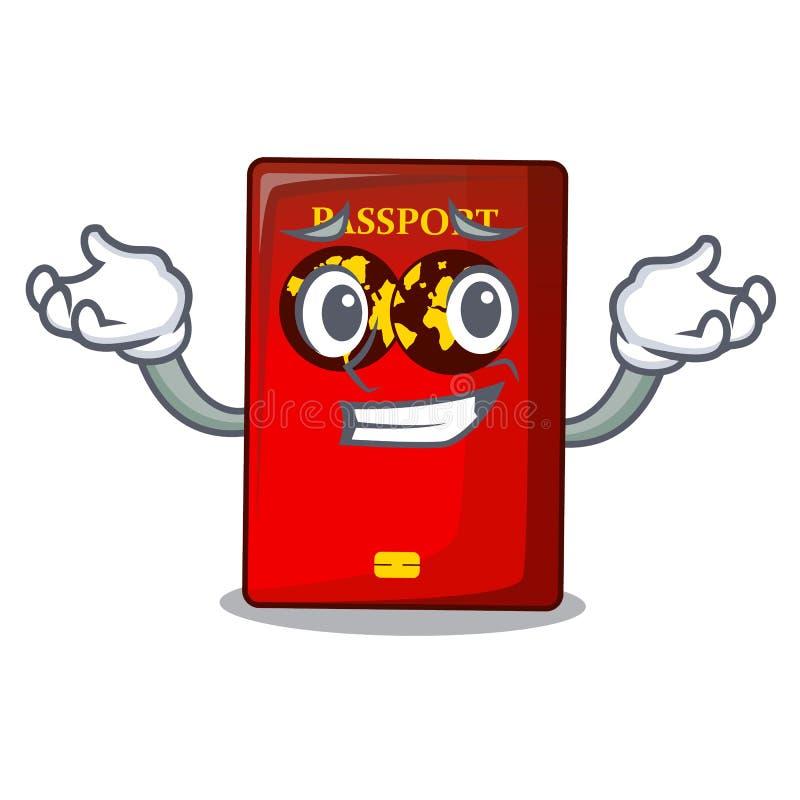 Ghignare passaporto rosso nella borsa del fumetto royalty illustrazione gratis
