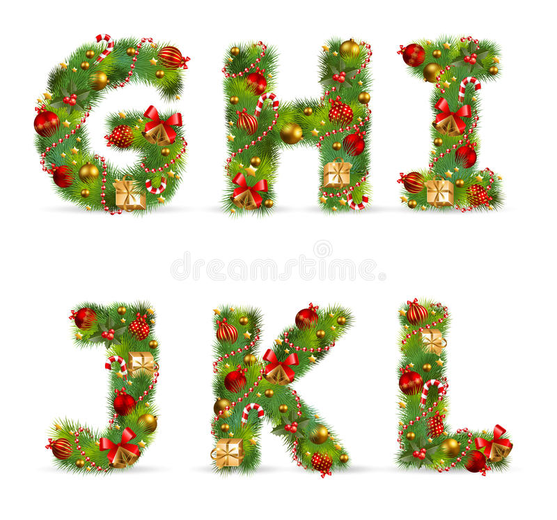 GHIJKL, fonte d'arbre de Noël illustration de vecteur