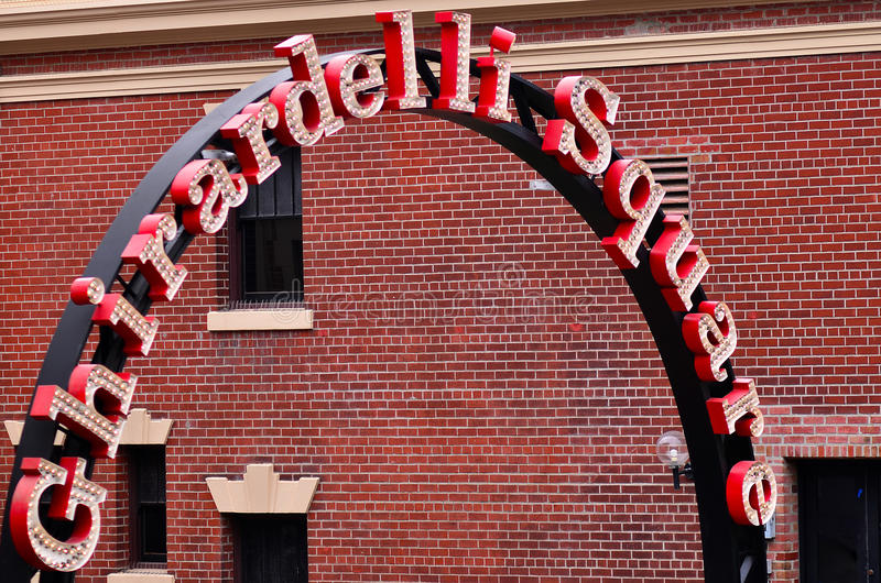 Ghirardelli Square in San Francisco - California. SAN FRANCISCO - MAY 17 2015:Ghirardelli Square entrance.It's a famous landmark public square with shops and royalty free stock photo