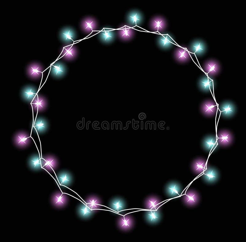 Ghirlanda d'ardore con le piccole lampade Effetti delle luci delle decorazioni di Natale delle ghirlande Progettazione della cart illustrazione vettoriale
