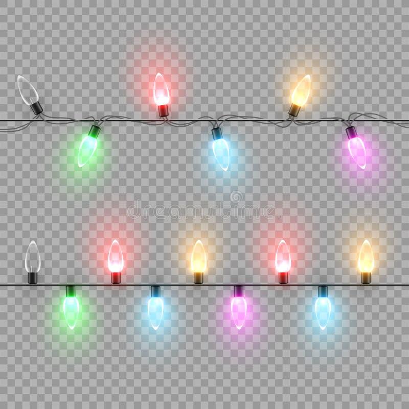 Ghirlanda della lampadina di Natale con differenti luci di colore isolate su fondo trasparente Elementi di disegno di vettore illustrazione di stock