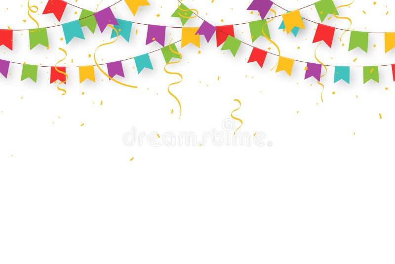 Ghirlanda di carnevale con le bandiere, i coriandoli ed i nastri Stendardi variopinti decorativi del partito per la celebrazione  illustrazione vettoriale