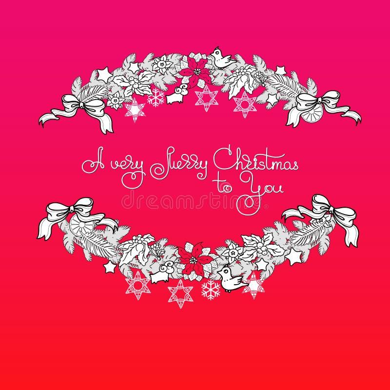 Ghirlanda di natale e Buon Natale scritto a mano di parole A molto royalty illustrazione gratis