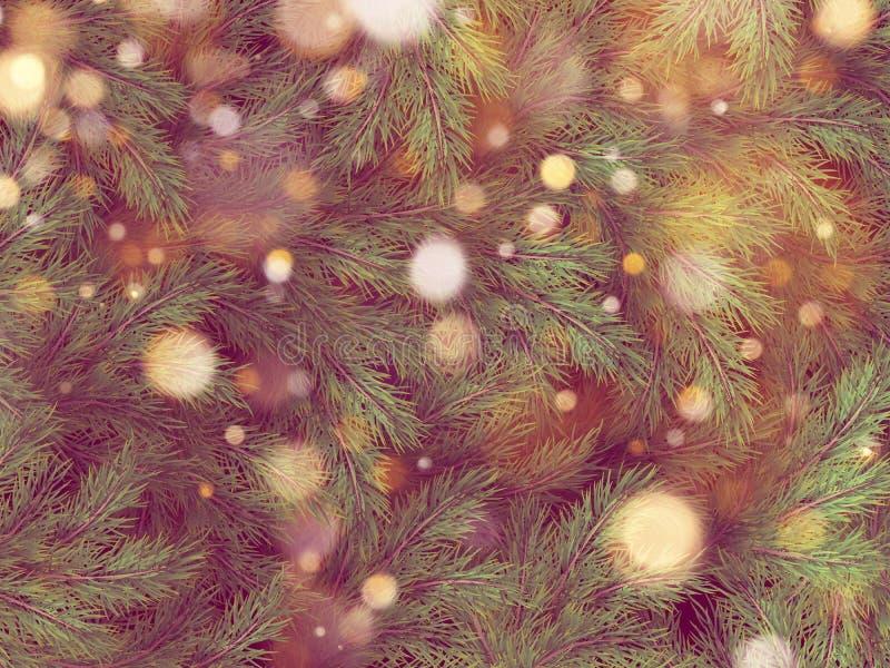 Ghirlanda leggera del bokeh dorato sull'albero di Natale ENV 10 illustrazione di stock