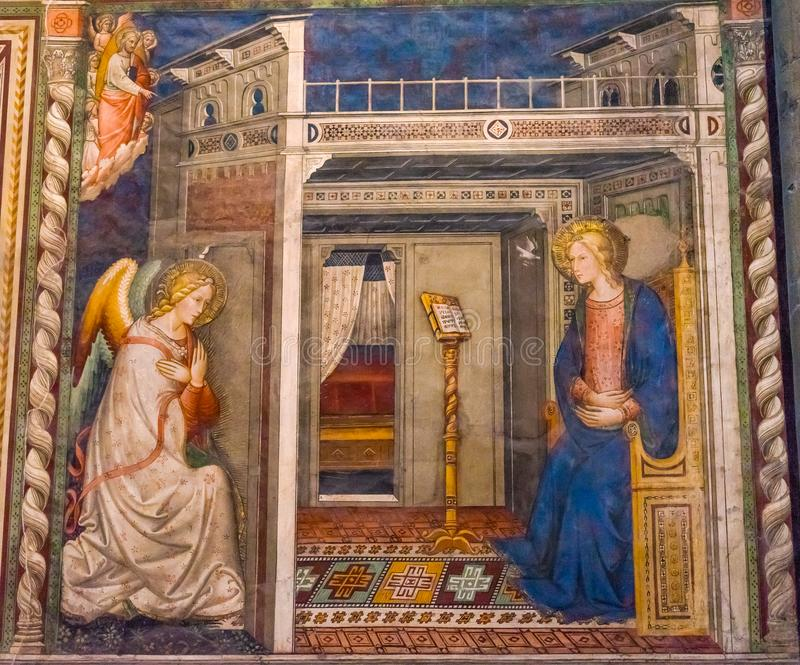 Ghirlandaio Virgin Fresco Annunciation Santa Maria Novella Church Florence Italy royalty free stock images