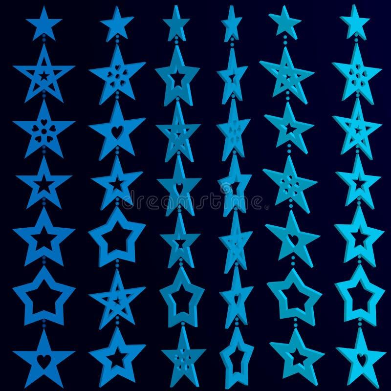 Ghirlande delle stelle blu-chiaro tridimensionali su fondo scuro Illustrazione di vettore illustrazione di stock