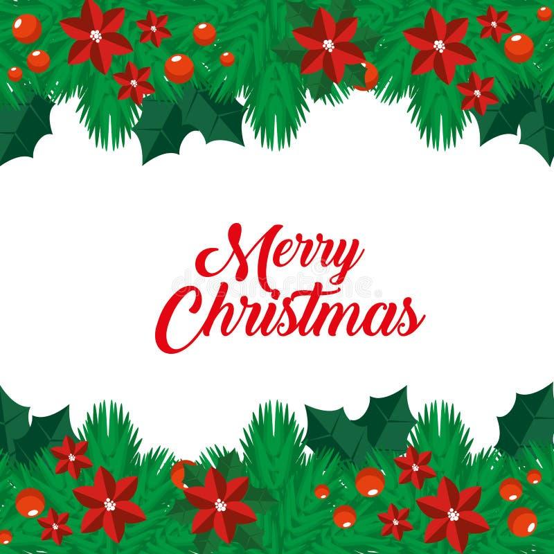 Ghirlande di Natale con i fiori e la decorazione delle palle royalty illustrazione gratis