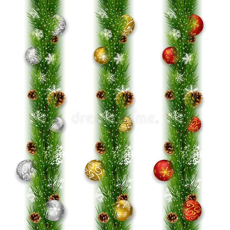 Ghirlande di Natale con le palle e le pigne illustrazione vettoriale
