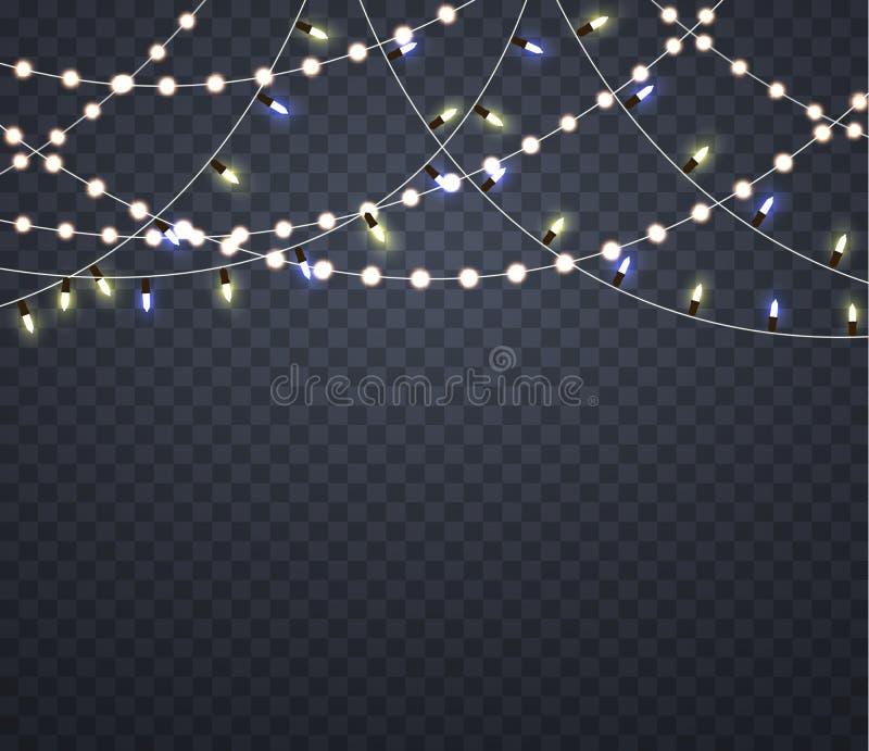 ghirlande leggere luci d'ardore sul Natale illustrazione di stock