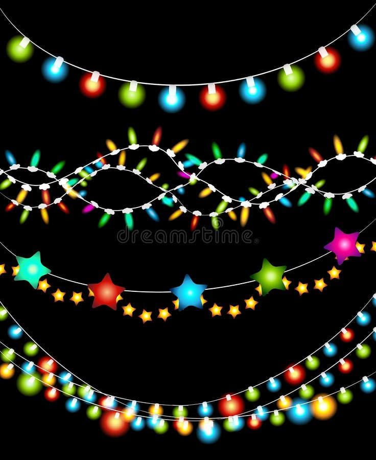Ghirlande variopinte delle luci di Natale illustrazione di stock