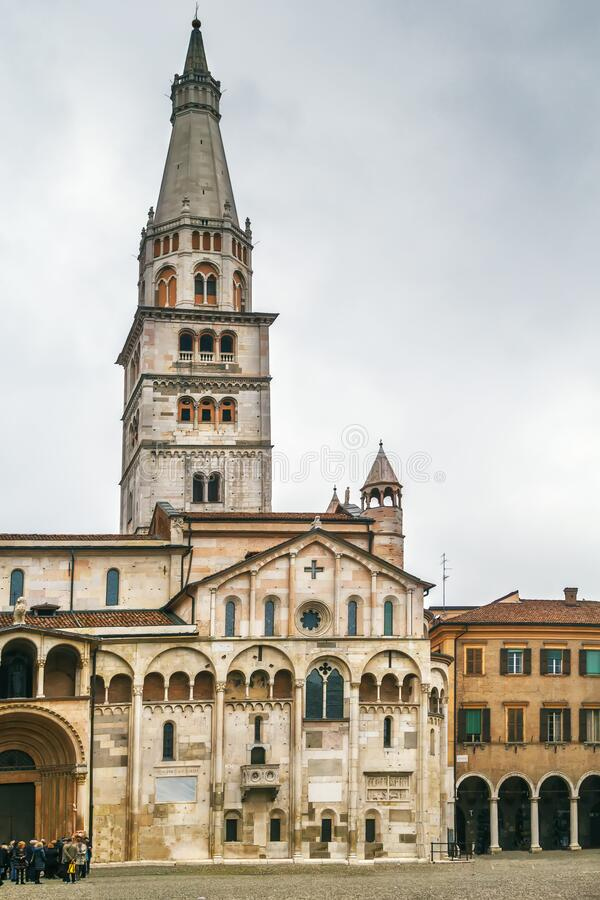 Modena Cathedral, Italy. Ghirlandina and Modena Cathedral is a Roman Catholic Romanesque church in Modena, Italy stock image