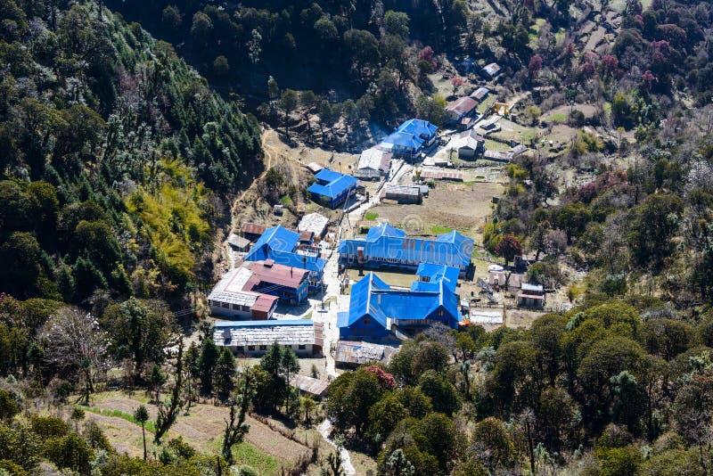 Ghorepani村庄在尼泊尔 免版税图库摄影
