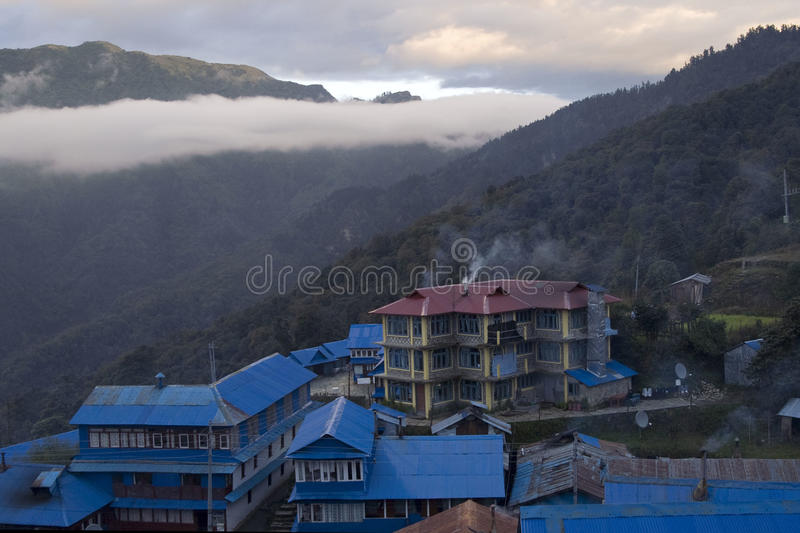 Ghorepani lodge in Himalayas royalty free stock images