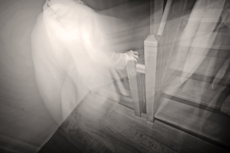 GHOST. Going downstairs. B&W realistic image