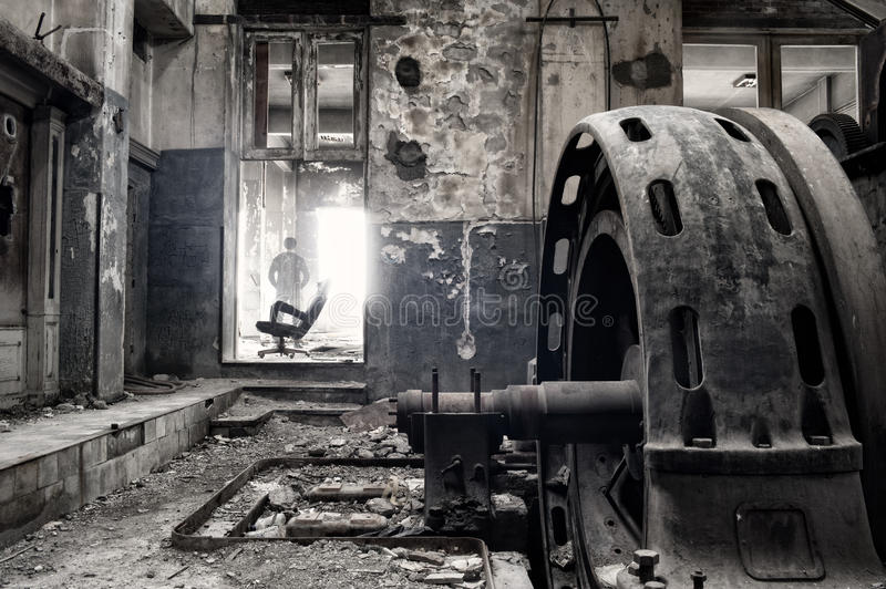 Ghost in an abandoned factory stock image