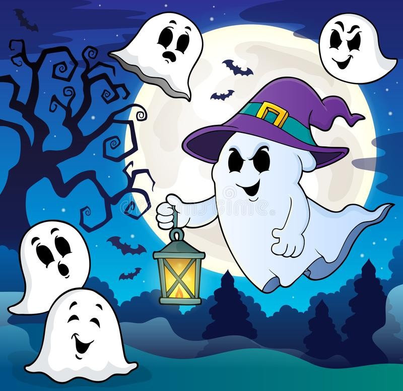 Ghost avec le thème 8 de chapeau et de lanterne illustration libre de droits