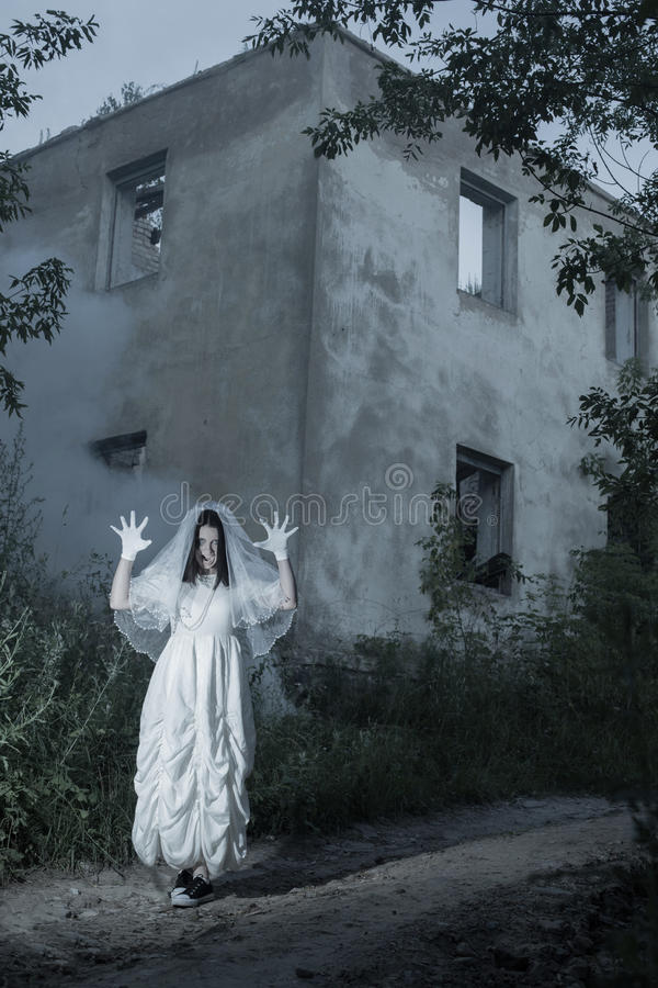 ghost on background old house royalty free stock photography