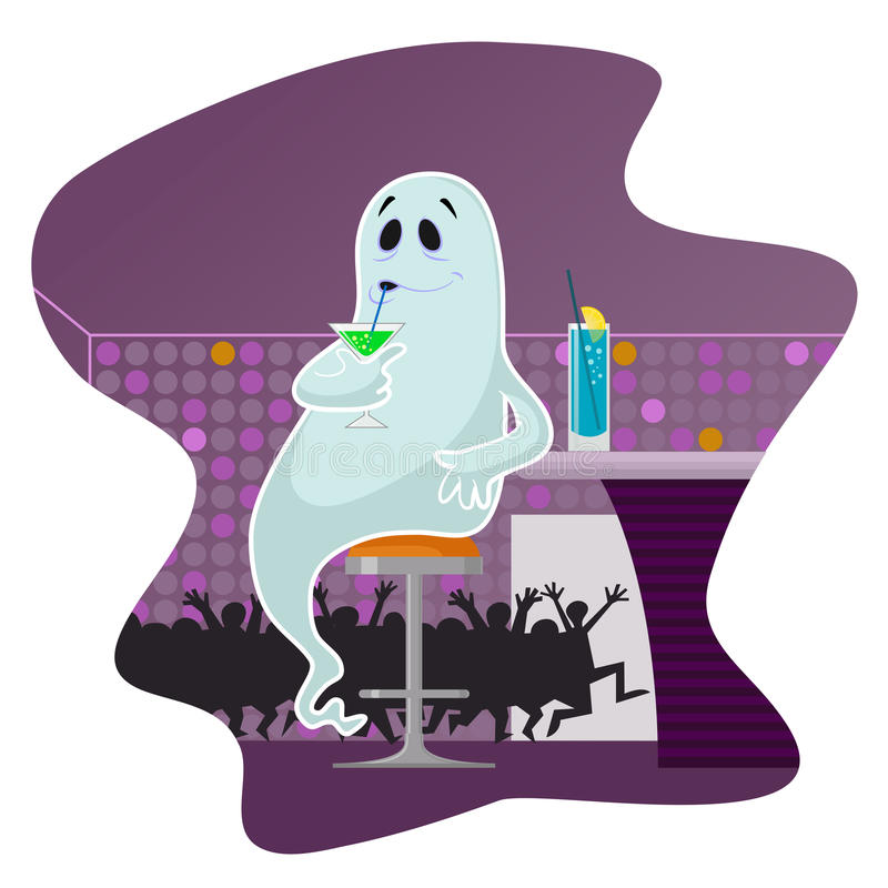 Ghost in the bar. Drinking cocktails vector illustration