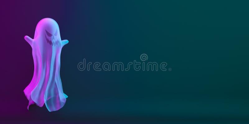 Ghost on black blue purple background, vibrant color, neon flourescent. copy space text area. Design creative concept of happy hal vector illustration