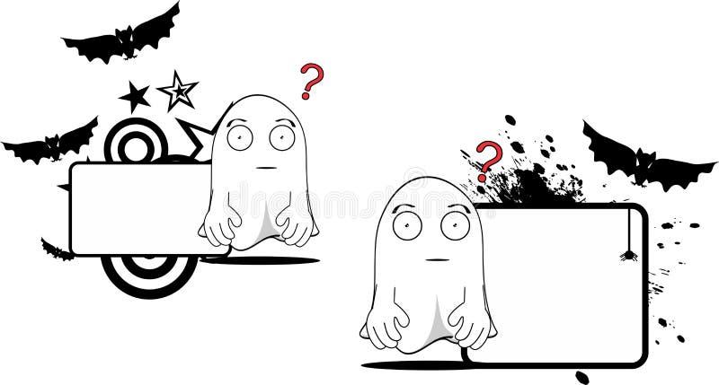 Ghost cartoon expression halloween copyspace set stock illustration