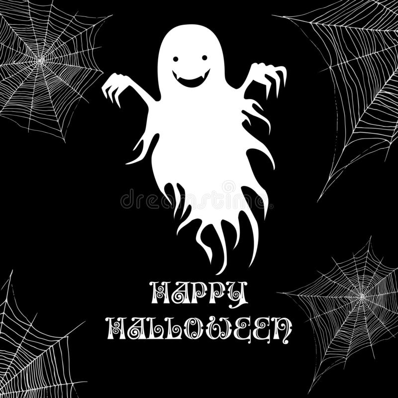 Ghost and cobweb, happy halloween background. Vector cartoon ill. Ustration. Black and white page for adults and children october holiday monster. Night party royalty free illustration